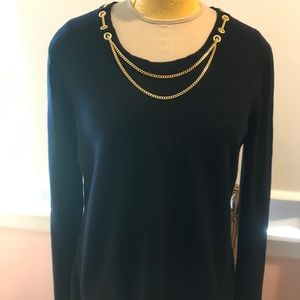 Karle SzL cashmere navy blue gold chain sweater